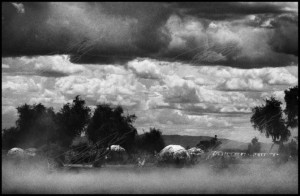 "(c) Ryan Spencer Reed  Kakuma, Kenya ""A dust storm rips through the huts of the Turkana tribe in the foreground with the tin roofs of refugee housing behind."""