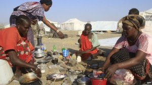 Sudan women displaced sudan.BBC